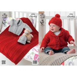 KC3706 Blanket, Jacket and Hat for Babies in King Cole Comfort Chunky