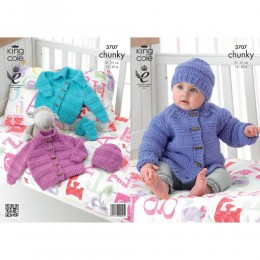 KC3707 Jacket Hat and Mittens for Babies in King Cole Comfort Chunky