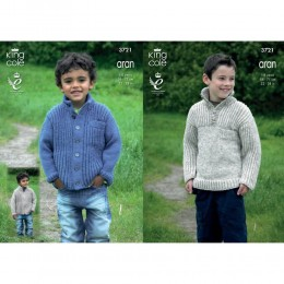 KC3721 Sweater and Cardigan for Children in King Cole Fashion Aran