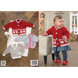 KC3722 Jacket, Cardigan and Sweater for Babies and Toddlers in King Cole Comfort Aran