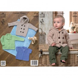 KC3724 Jacket and Cardigan for Babies in King Cole Comfort Aran