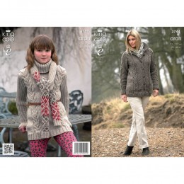 KC3744 Tunic, Coat and Scarf for Women in King Cole Fashion Aran