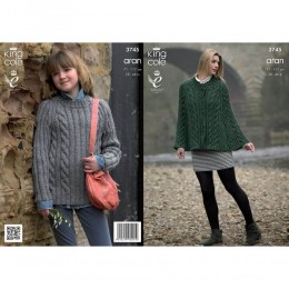 KC3745 Cape and Sweater for Women in King Cole Fashion Aran