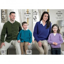 KC3756 Cardigan and Sweater for Women and Girls in King Cole Merino Blend DK