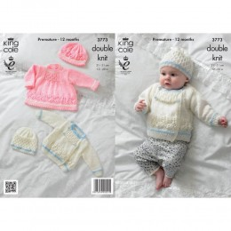 KC3773 Jacket, Dress and Hat for Babies in King Cole Baby Glitz DK