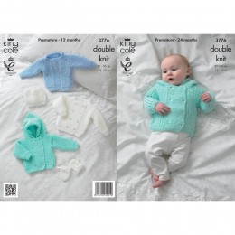 KC3776 Sweater, Jacket, Hat and Mittens for Babies in King Cole Baby Glitz DK