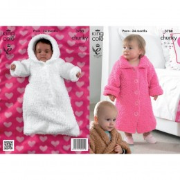 KC3788 Dressing Gown and Sleeping Bag for Babies in King Cole Cuddles Chunky