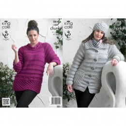 KC3816 Jacket, Sweater and Hat for Women in King Cole Big Value Super Chunky