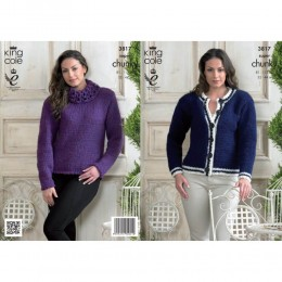 KC3817 Sweater and Cardigan for Women in King Cole Big Value Super Chunky