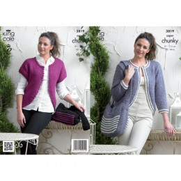 KC3819 Cardigans and Bags for Women in King Cole Big Value Super Chunky