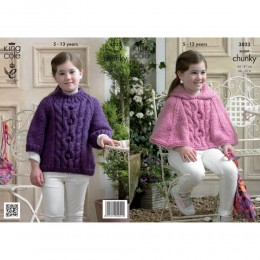 KC3823 Cape and Sweater for Children in King Cole Big Value Super Chunky