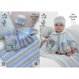 KC3841 Cardigan, Hat and Blanket for Babies in King Cole Melody DK