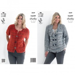 KC3849 Jacket and Cardigan for Women in King Cole Gypsy Super Chunky