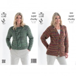 KC3850 Cardigan and Jumper for Women in King Cole Gypsy Super Chunky
