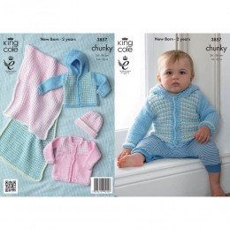 KC3857 Blanket, Jacket and Hat for Babies in King Cole Big Value Chunky