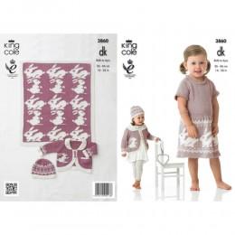 KC3860 Dress, Cardigan, Hat, Blanket for Children in King Cole Bamboo DK