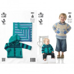 KC3861 Sweater, Hoodie and Blanket for Babies and Children in King Cole Cottonsoft DK
