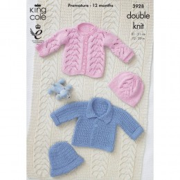 KC3928 Jackets and Hat for Babies in King Cole Cottonsoft DK
