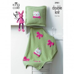 KC3981 Blanket and Cushion with Cats and Bows in King Cole Comfort DK