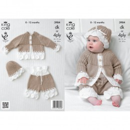 KC3984 Jacket, Hat and Trousers for Babies in King Cole Comfort DK or King Cole Comfort 4ply