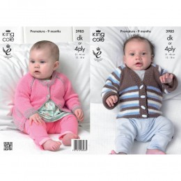 KC3985 Cardigans for Babies in King Cole Comfort DK or King Cole Comfort 4ply