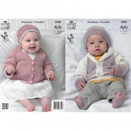 KC3988 Matinee Coat, Cardigan and Hat for Babies in King Cole Bamboo 4ply