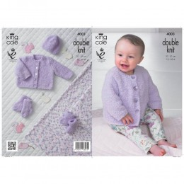 KC4003 Cardigan, Hat, Blanket, Booties and Socks in King Cole Cuddles DK