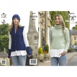 KC4018 Sweater, Waistcoat, Hat and Wrist Warmers for Women in DK