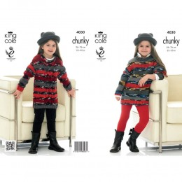 KC4030 Sweaters and Dresses for Girls in King Cole Big Value Multi Chunky