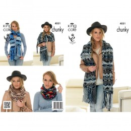 KC4031 Scarf, Snood and Shawl for Women in King Cole Big Value Multi Chunky