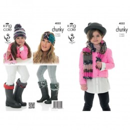 KC4032 Scarf, Hat, Headband and Welly Toppers for Children in King Cole Big Value Multi Chunky
