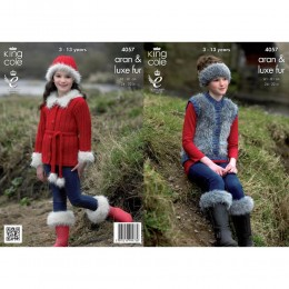 KC4057 Jacket, Gilet, Boot Toppers, Hat and Headband for Children in King Cole Merino Aran and Luxe Fur