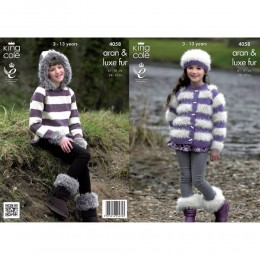 KC4058 Jacket, Hoodie, Hat and Boot Toppers for Children in King Cole Merino Aran and Luxe Fur