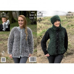 KC4059 Jacket, Mittens and Headband for Women in King Cole Merino Aran and Luxe Fur