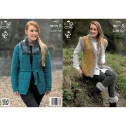 KC4062 Jacket, Gilet and Boot Toppers for Women in King Cole Merino Aran and Luxe Fur