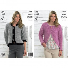 KC4064 Bolero and Jacket for Women in King Cole Big Value Super Chunky