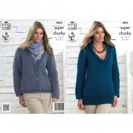 KC4065 Sweater and Cardigan for Women in King Cole Big Value Super Chunky