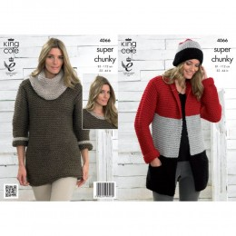 KC4066 Jacket, Hat, Sweater Dress and Cowl for Women in King Cole Big Value Super Chunky