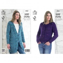 KC4068 Jacket and Sweater for Women and King Cole Gypsy Super Chunky