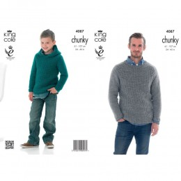 KC4087 Sweater and Hoodie for Men in King Cole Big Value Chunky