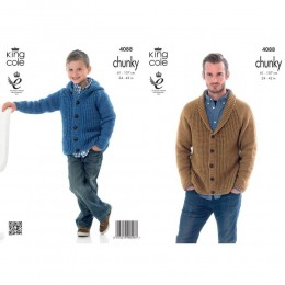 KC4088 Cardigan and Hoodie for Men in King Cole Big Value Chunky