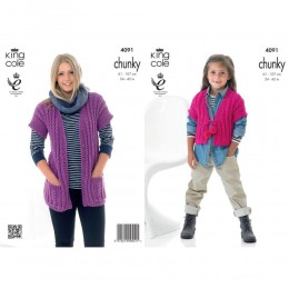 KC4091 Waistcoats for Children in King Cole Big Value Chunky