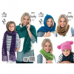 KC4092 Scarves and Hat for Women and Children in King Cole Big Value Chunky