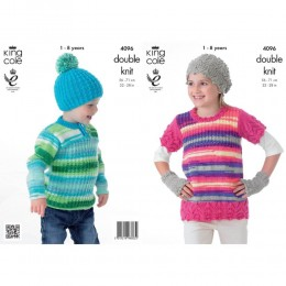 KC4096 Tunic, Sweater, Hats and Handwarmers for Children in King Cole Flash DK