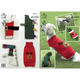 KC4115 Christmas Doggie Coats in DK