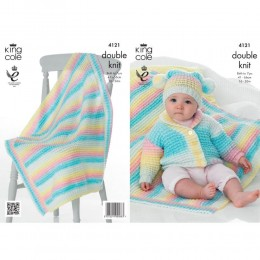 KC4121 Cardigan,Hat and Blanket for Babies in King Cole Melody DK