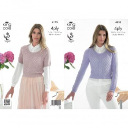 KC4133 Sweaters for Women in King Cole Bamboo 4ply