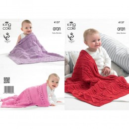 KC4137 Blankets for Babies in Recycled Cotton Aran