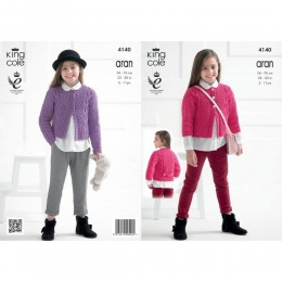 KC4140 Cardigan for Girls in Recycled Cotton Aran
