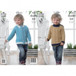KC4160 Jacket and Sweater for Children in King Cole Cottonsoft DK